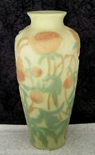 "Vintage Phoenix Consolidated Peony 12 1/4"" Opaque Satin Glass Vase"