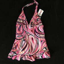 Juicy Couture Bathing Swim Suit Tankini Top Girls 14 Pink Swirls NWT