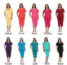 unik Women's Short Sleeve Embroidered Roses Blouse and Matching Capri Set