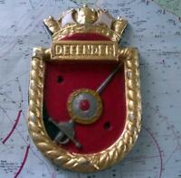 "HMS Defender Royal Navy Ship Metal Tampion Plaque Crest 6.5 ""X 5""  1lb"