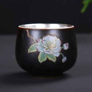 sterling silver tea cup porcelain glaze outside floral painted under glaze cups