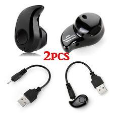 2x Mini Wireless Invisible Bluetooth 4.0 In-Ear Earphone Earbud Earpiece BlaUB