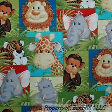BonEful Fabric FQ Cotton Quilt Baby Giraffe Elephant Monkey Lion Cub Tiger Hippo