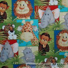 BonEful Fabric FQ Cotton Quilt Baby Giraffe Elephant Monkey Lion Cub Tiger Hippo