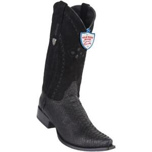 Men's Wild West Genuine Python Boots Snip Toe Handcrafted