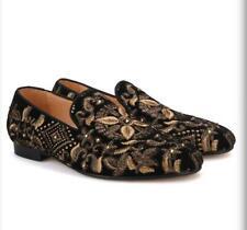 Diamantes de imitación de cuero real para hombre hecho a mano bordado negocio Novio Boda Zapatos Talla