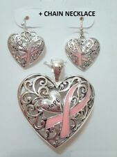 Silver Pink Ribbon Heart Love Hope Breast Cancer Awareness Pendant Necklace
