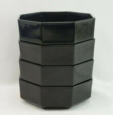 Vintage France Arcoroc Black Glass Bowls Set 4
