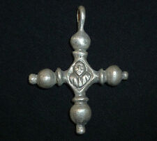 Knights Templar Ancient SILVER Two-sided CROSS - Amulet / Pendant Circa 1150 AD