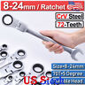Ratchet Flexible Head Ratcheting Wrench Spanners Gear Tool Set Crv Metric 8-24mm