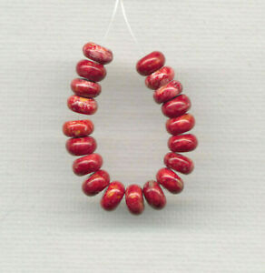 """RED SPINY OYSTER 6MM HEISHI HESHI BUTTON RONDELLE BEADS - 2.5"""" Strand - 0961"""