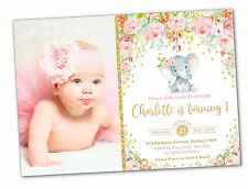 Elephant First 1st Birthday Invitation Pink Gold Floral Party Invite Confetti