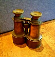 Antique World War I Hezzanith Brass Binoculars by Heath&Co (Focus Wheel Lenses)