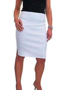 Ladies Knee Length Skirt Side Split Detail White Office Work NEW 6-18