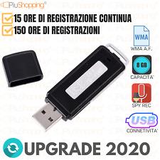 REGISTRATORE AUDIO VOCALE 8 GB PENDRIVE USB SPY MICRO SPIA AMBIENTALE DITTAFONO