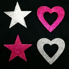 Two Hearts Stars Silver Pink Sparkling Wall Hanging Heart Star Sign Love Signs