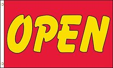 OPEN Yellow on Red Shop Advert Sign Advertising PO 5'x3' HEAVY-DUTY NYLON Flag