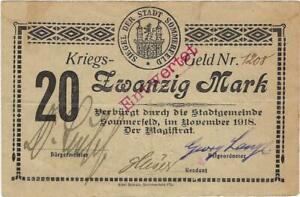 NOTGELD GERMANY --SOMMERFELD -- NOVEMBER 1918 -  20 MARK //88.02