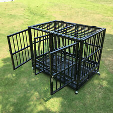 """37"""" Heavy Duty Dog Cage Strong Metal Crate Pet Playpen Kennel w/Divider & Doors"""