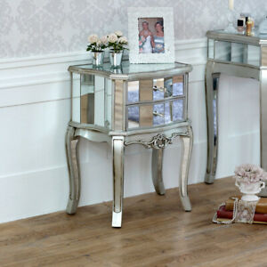 Mirrored bedside cabinet lamp table bedroom furniture venetian silver hotel