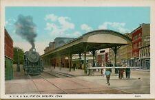 VTG N.Y.N.H. & H. Railroad RR Station in Meriden Connecticut CT Postcard A11