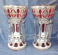 MANTEL LUSTERS WHITE CUT TO CRANBERRY BOHEMIA 16 PRISMS CANDLESTICK CANDLE EUC