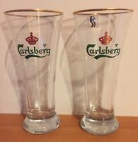 PAIR Carlsberg Weighted 1 Pint Beer Glass Lager Style w/Gold Trim 16oz Denmark