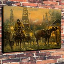"Art Quality Canvas Print Oil Painting western, cowboy, black gold A5930,18""x22"""