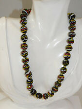 "Vintage Indonesian Pottery Clay Painted Bead Black Red Yellow 18"" Necklace 9f 79"