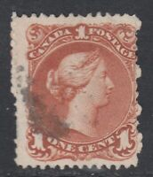 "Canada Scott #22ii  1 cent Bothwell Paper brown red  ""Large Queen"""