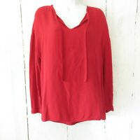 Cloth & Stone Popover Top Small Red Long Sleeve Tunic Tie Front