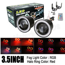 """2x 3.5"""" RGB MultiColor Projector LED Fog Light with Red Angel Eyes Halo Ring 12V"""