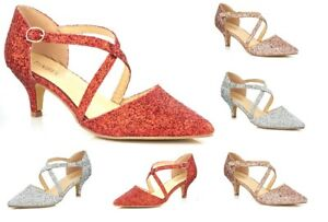 New Ladies Low Kitten Heel Shimmer Glitter Strappy Party Evening Court Shoes 3-8