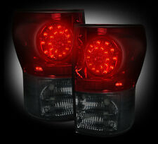 2007-13 Toyota Tundra Rear Brake Reverse Red Smoked Taillights w Brake LED Bulbs