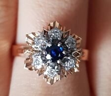 Stunning Classy 18ct Rose Gold Diamond Sapphire Ring 18K Hallmarked