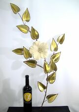 Mid Century Modern Brass Wall Sculpture with Ceramic Flower *C Jere - WOW!