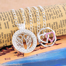 5 Handmade Hollow Living Floating Memory Locket Necklace Hearts & Wings Charms