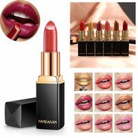 Long Lasting Metallic Matte Glitter Lipstick Lip Gloss Cream Makeup Moisturizing