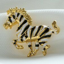 Fashion Handmade Crystal Rhinestone Enamel Stripe Horse Brooch Pin Jewellery New