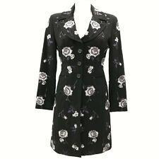 KAREN MILLEN Black Grey Jacket Women's Floral Embroidered Collar UK 10 081095