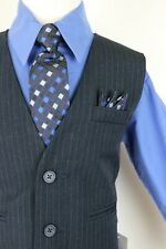 Navy Victoria dark blue pinstripe vest 4 piece set formal suit easter all size