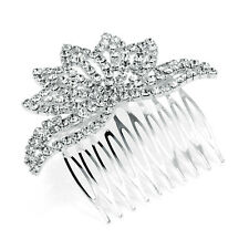 Bridal Diamante Hair Comb Slide with Crystal in silver Tone 8 cms