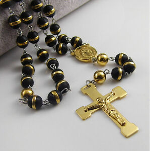 28'' Mens 8mm Silicone Rosary Black Gold Chain Necklace Stainless steel Cross