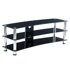 3-Tier Shelves Black TV Mount Stand Tempered Glass LCD Flat Pack Console Table