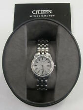 Citizen Eco-Drive Stainless Steel Women's Watch with Crystals E011-S094461 NICE