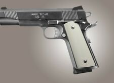 Hogue 1911 Government Smooth Ivory Polymer S&A / Techwell Mag Well, Ambi. Cut