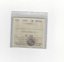 **1919**, ICCS Graded Canadian,  5 Cent, **MS-64**