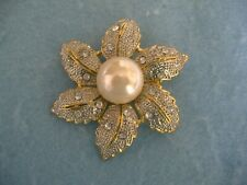 Or Pin With Clear Crystals-Pearl Gold And Silver Toned Flower Brooch