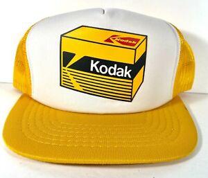 Kodak Film Box Camera - Snapback Hat Mesh Baseball Trucker Cap - vtg Yellow
