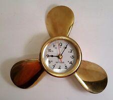 "Solid Bronze Ship's Clock Propeller Vintage Wall Clock, 9"", Works"